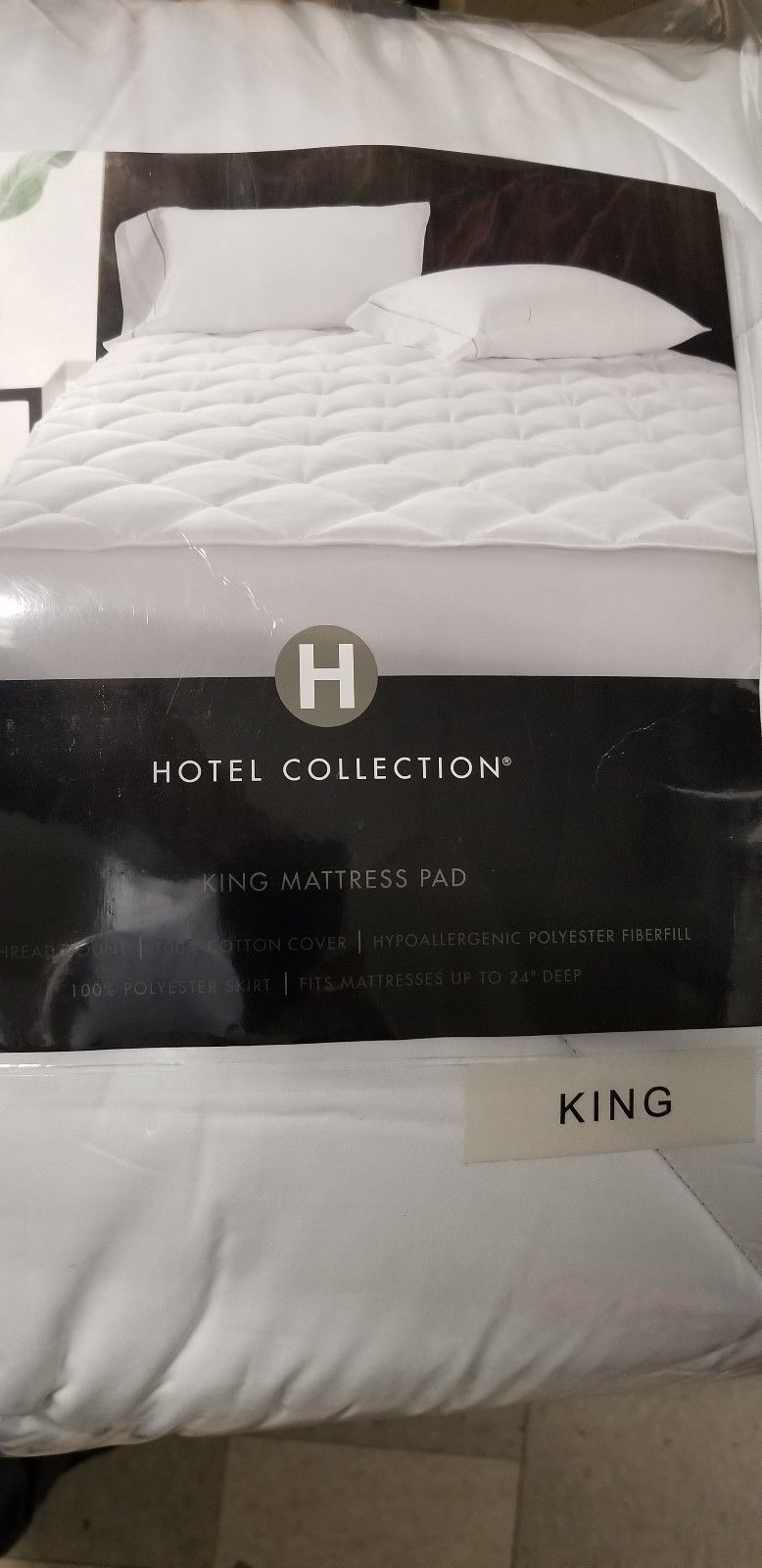 Hotel Collection 500 TC Cotton Down Alternative KING Mattress Pad WHITE I176