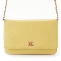 Chanel Coco Mark Lucky Clover Chain Wallet 24s Yellow Used Grade B - $1,843.00