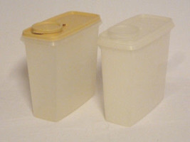 TUPPERWARE Set of Two 13 Cup Cereal Keeper Storer Containers Sheer & Hazelnut - $16.45