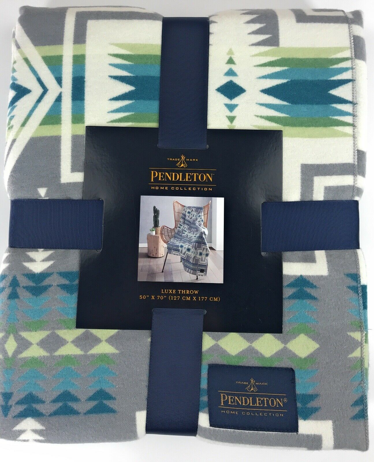 "Pendleton Harding Luxe 100% Polyester 50""x70"" Throw Blanket Southwest Gray NWT image 2"