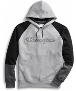Champion Powerblend Colorblock Gray / Black Pullover Hoodie Adult Large - $49.49