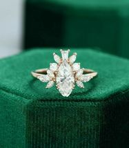 2 Ct Marquise & Baguette Cut Diamond Cluster Engagement Ring 14k Rose Go... - $190.99