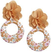 Brown Floral Drop Hoop Earrings - $13.64