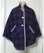 VINTAGE CAPE Jacket 50s 60s Purple Plaid Poncho Lavender Quilted Lining ... - $49.50