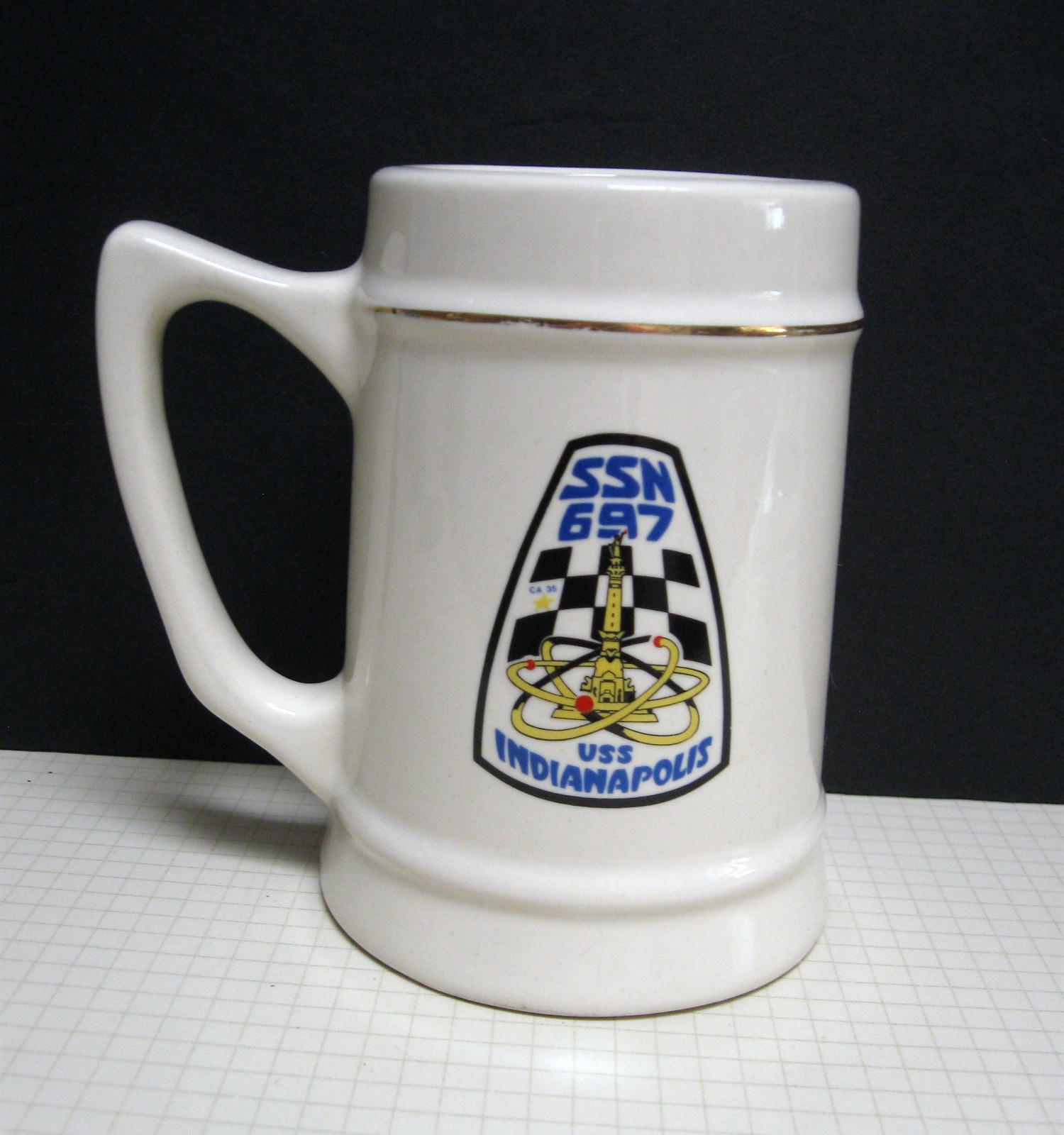 USS Indianapolis SSN 697 Commemorative 12-Ounce Ceramic Pub Stein - Beer Mug