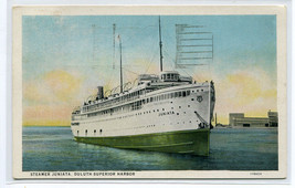 Steamer Juniata Great Lakes Duluth Superior Harbor Minnesota 1934 postcard - $5.94