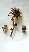 Vintage Goldtone Amethyst Prong Set Rhinestone Flower Brooch Clip Back E... - $49.99