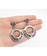 MEXICO 925 Silver - Vintage Crushed Turquoise Mosaic Dangle Earrings - E... - $54.28