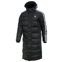 Adidas Originals Long Parka Hooded Down Coat Jacket Winter Warm Black FL... - $215.99