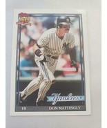 1991 Topps Don Mattingly #100 NY Yankees MISPRINT ERROR ~ Trading Card - £2.07 GBP