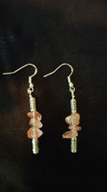 Earrings Pink Quartz Sterling Sliver  Boho Chic Natural Healing Stone - $12.50