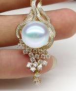Buy 18k Pure Gold Natural Southsea Round Pearl Diamond Pendant Elegant E... - $8,699.99+