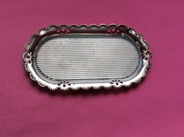VINTAGE SILVER PLATED BRASS SOAP DISH WITH FROSTED GLASS INSERT MADE IN ... - $23.24