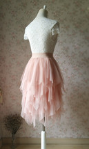 Layered Midi Tulle Skirt Blush Pink Ballerina Tulle Skirt Blush Party Midi Skirt image 4