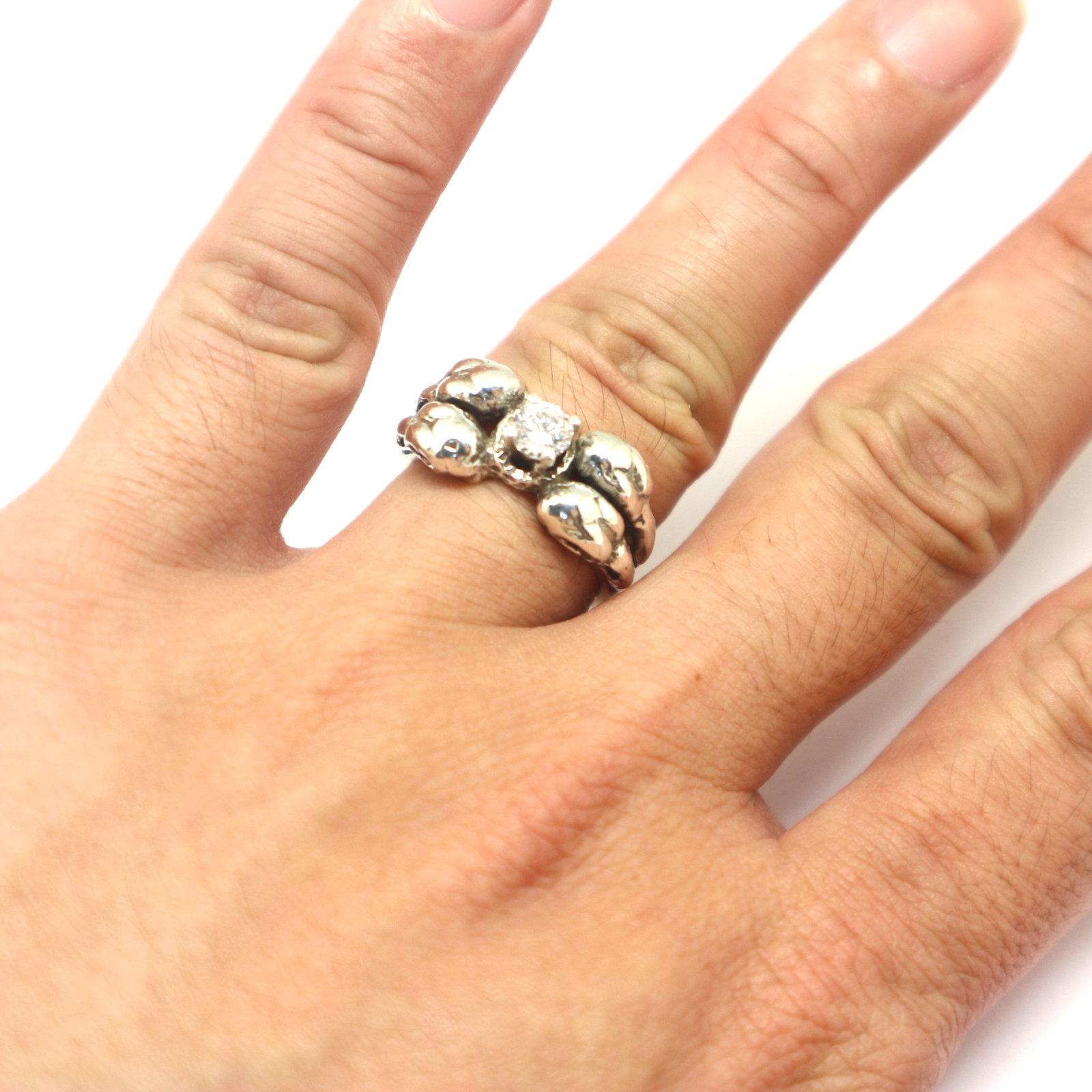 Silver Raven Skull Ring image 4