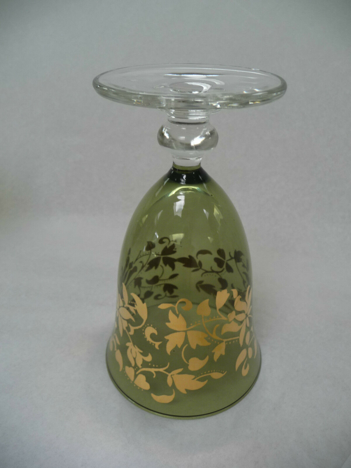 """Green Goblet SC Line Made in Italy Gold Leaves Hand Blown Glass 5.5"""" Lot of Six"""