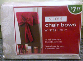 Set of 2 Chair Bows Winter Holly - Ivory Christmas Holiday Wedding Party   - $4.94