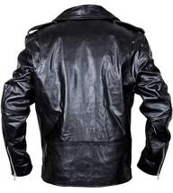 Mens Brando Biker Classic Vintage Motorcycle Black Leather Jacket image 4