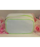 New Clinique Makeup Cosmetic Bag White Vynal Green Trim Satin Interior - $14.24