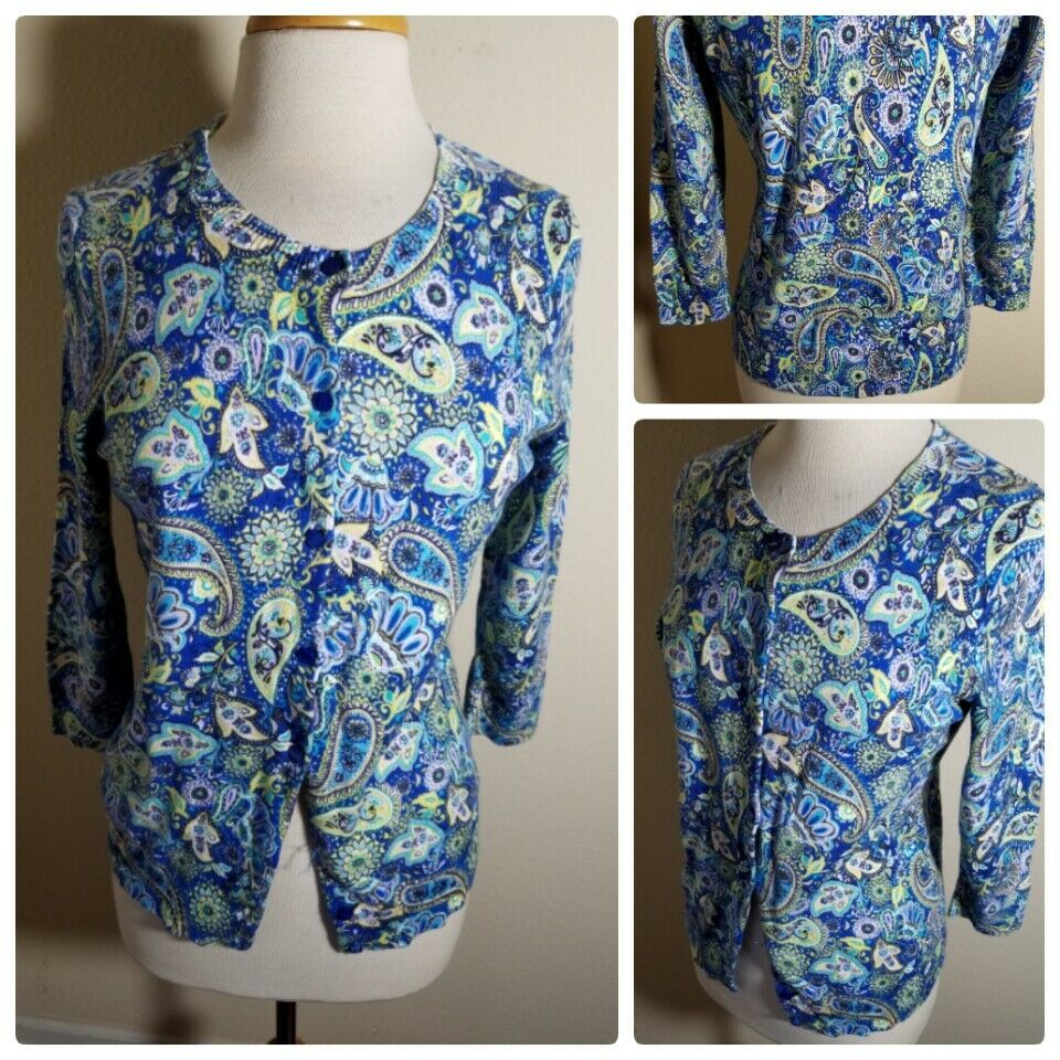 Primary image for Talbots Women's Cardigan Sweater Blue Paisley Floral 3/4 Sleeve Cotton Knit S