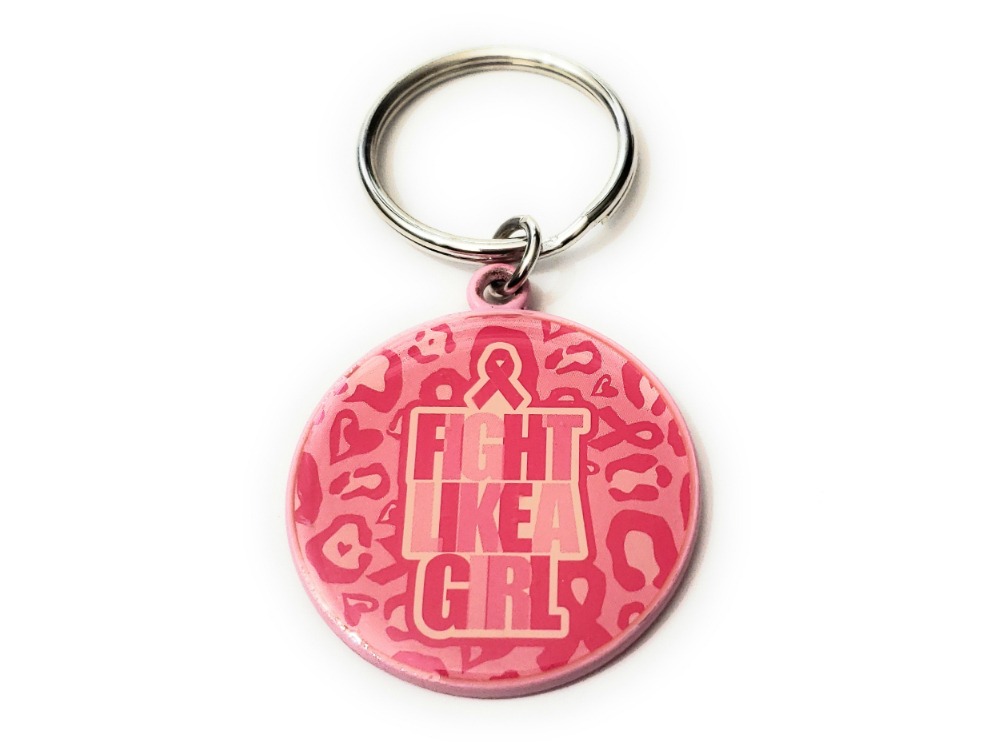 Primary image for Pink Ribbon Key Chain w/ Metal Medallion Design on Back ~ Style 292D
