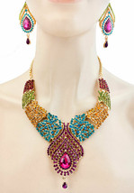 Kundam Statement Evening Bib Necklace Earring Multicolor Rhinestones Dra... - $44.60