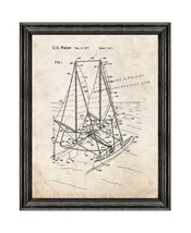 Outrigger Sailboat Patent Print Old Look with Black Wood Frame - $24.95+