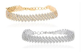 18K White/Yellow Gold 5 Row Swarovski Crystals ... - $23.99