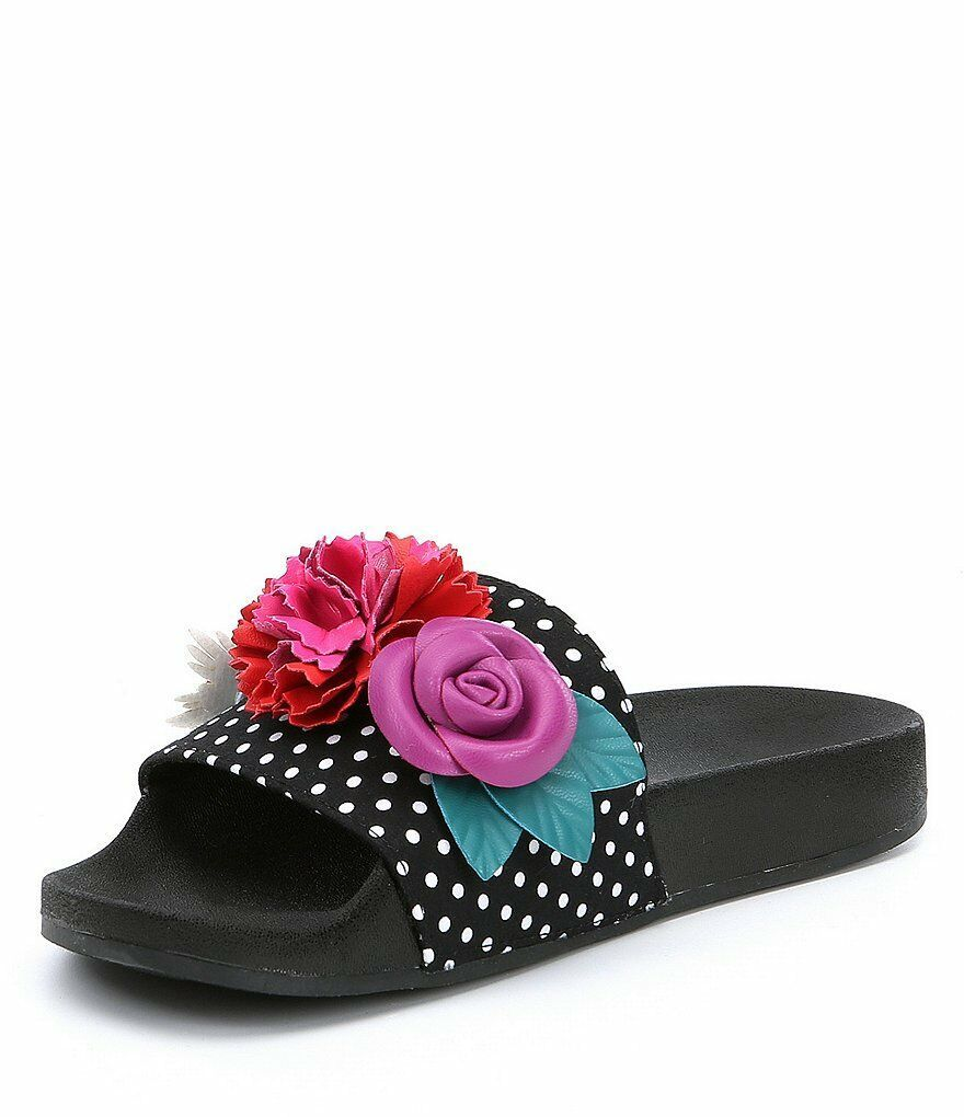 Betsey Johnson Penny Slides Dot Pattern 3D Flower Appliques Sandals Size US 6.5