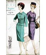 Vintage 1960 Misses' JACKET & SKIRT Vogue Pattern 4151 - Size 18½ UNCUT - $20.00