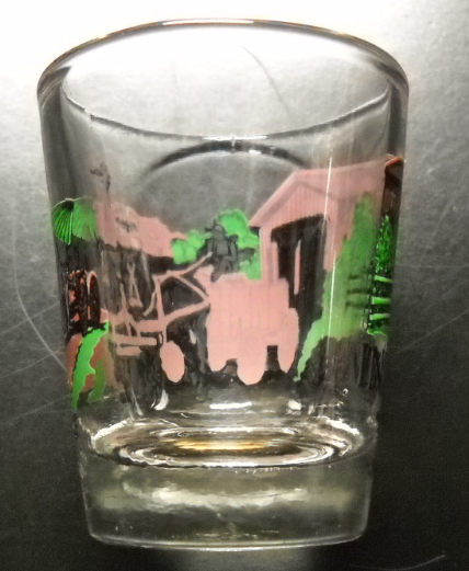 Indiana Shot Glass Covered Bridge Horse Drawn Cart Farm Setting on Clear Glass