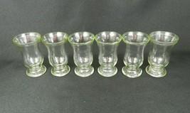 6 Vintage Jelly Jar Juice Glasses Pedestal Base Clear Light Green Glass ... - $19.79