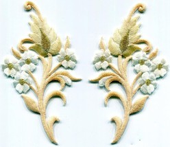 Cream coffee tan flowers blossoms embroidered appliques iron-on patches ... - £3.00 GBP