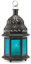 Hanging blue glass moroccan metal candle holder patio deck path table la... - $15.00