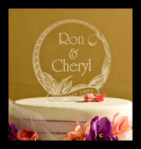 Personalized Engraved Floral Wedding Cake Toppe... - $13.95