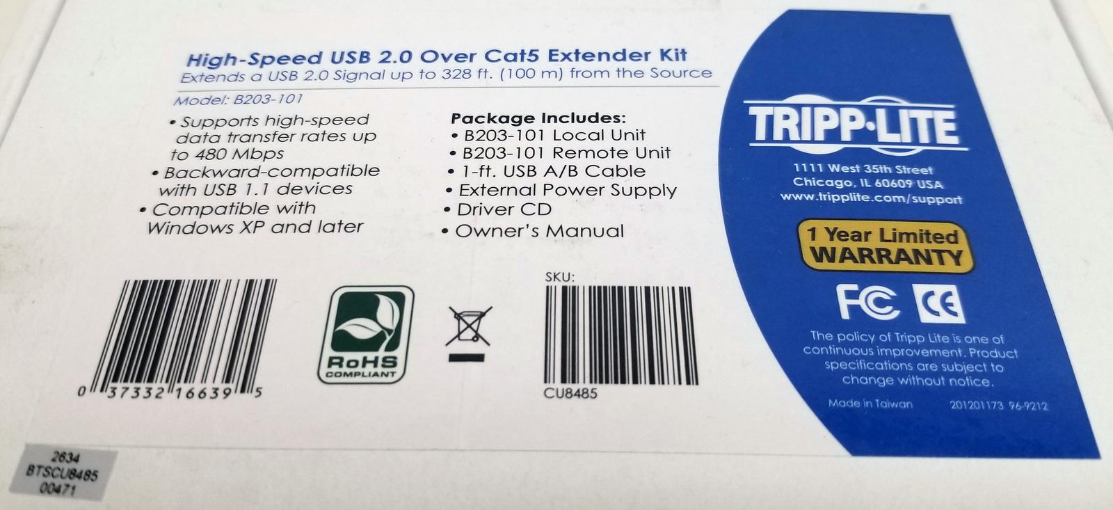 High-Speed USB 2.0 Over Cat5 Extender Kit B203-101 Bin: 13