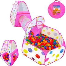 3pc Kids Play Tent Crawl Tunnel Ball Pit Pop Up Playhouse Tent Basketbal... - $37.49