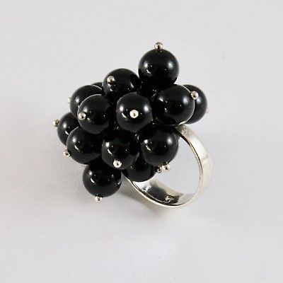 925 SILVER RING CLUSTER MUNITIONS WITH ONYX TONDA DI 8 MM SIZE ADJUSTABLE