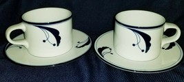 DANSK Flora Bistro Coffee Tea Cup Saucer BAYBERRY BLUE Portugal Set of 2... - $12.04