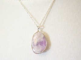 Freeform AMETHYST CRYSTAL QUARTZ Faceted Pendant Necklace Handmade Chain... - $16.82