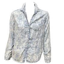 American Eagle Womens Blue Acid Wash Long Sleeve Button-Down Shirt Top Sz S - $8.91