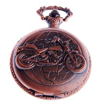 NWOT ShoppeWatch PW-50 Steampunk Motorcycle Motif Pocket Watch With Chain - $14.95