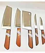5pcs Thai KIWI Brand Knives Wood Handle Kitchen Blade Stainless- Free Sh... - $42.99