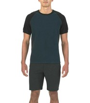 Under Armour Men Black Blue Textured Jersey Crew Shirt 1303581 089 Size M - $31.96