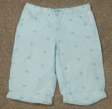 Justice Light Blue White Striped Seersucker Bermuda Low Fit Heart Shorts... - $9.49