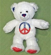 "16"" Build A Bear WHITE PEACE SIGN TEDDY BEAR Plush Stuffed Red Blue Stri... - $18.70"