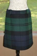 Talbots Size 8 Mid Length Green Navy Wool Blend Skirt Career Office Work (BH) - $20.18