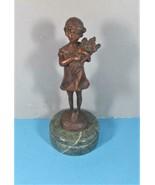 Standing Bronze on Green Marble Base, Little Girl Holding Flowers, S. Bu... - $83.22