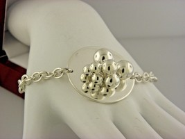 Sterling Silver Oval Link And Round Beaded Center Piece Toggle BRACELET.#23 - $48.02