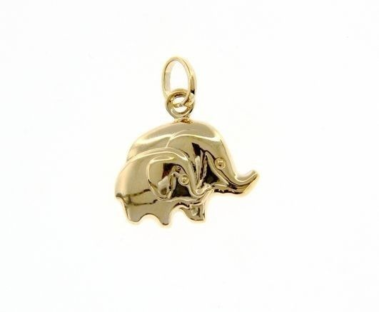18K YELLOW GOLD MOTHER & SON ELEPHANT PENDANT CHARM 21 MM SMOOTH MADE IN ITALY
